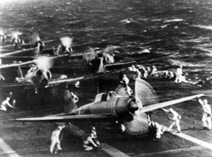 Japanese naval aircraft prepare to take off from an aircraft carrier (reportedly the Shokaku)